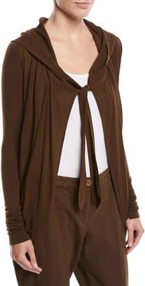 Urban Zen Tie-Front Hooded Draped Cardigan
