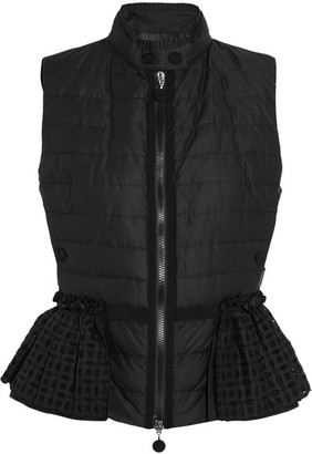 Moncler - Valensole Broderie Anglaise-trimmed Quilted Cotton Down Gilet - Black $1,020 thestylecure.com