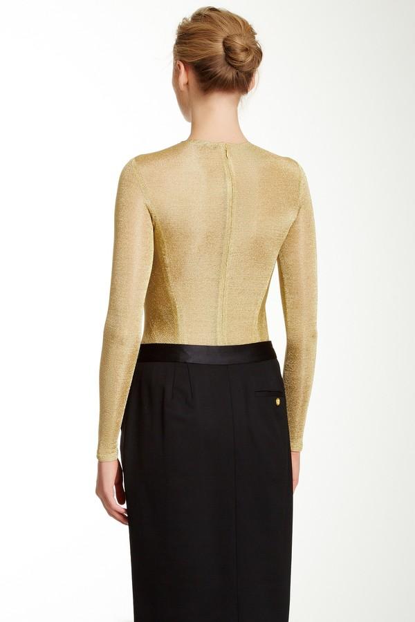 Bill Blass Embellished Long Sleeve Bodysuit