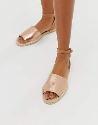 South Beach rose gold espadrille sandal