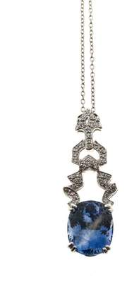 Platinum & 6.65ct Periwinkle Blue Ceylon Sapphire & 0.20ct. Diamond Necklace