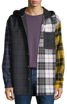 Alexander Wang Men's Multi-Plaid Hooded Overshirt