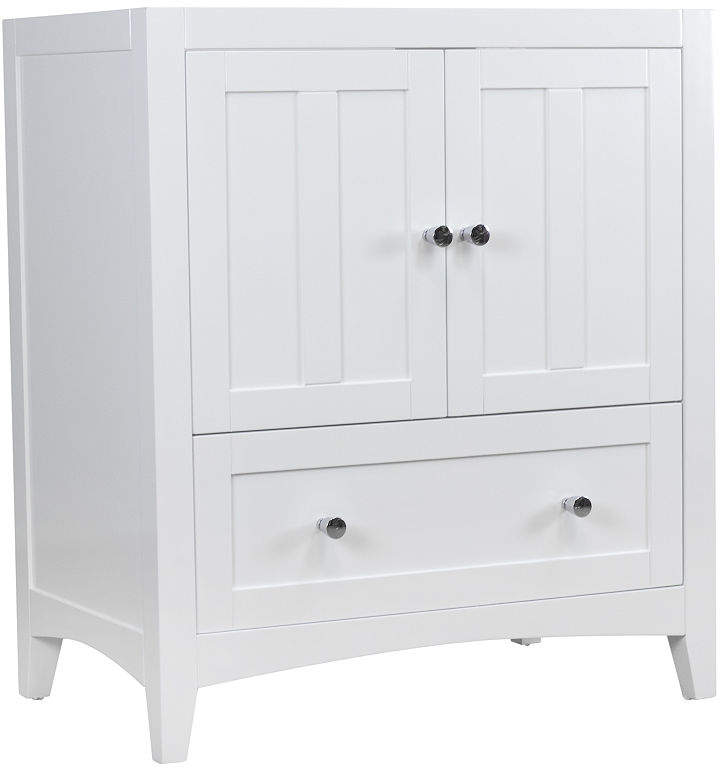 Shaker Rectangle Floor Mount28.25-in. W x 18-in. D Modern Plywood-Veneer Vanity Base Only In White