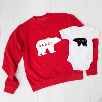 Twenty-Seven Personalised Daddy Bear Jumper And Baby Grow Set