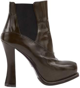 Prada Green Leather Ankle boots