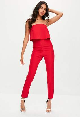Missguided Petite Red Bandeau Double Layer Jumpsuit, Red