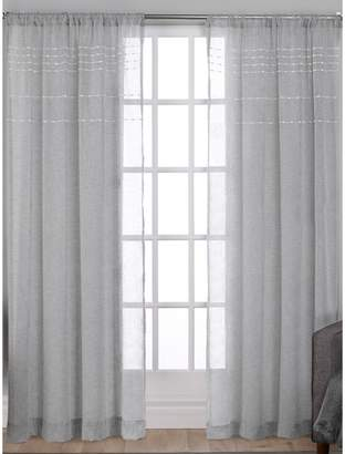 Home Outfitters Davos Puff Embellished Belgian Linen Sheer Panel Window Curtain Panel Pair with Rod Pocket