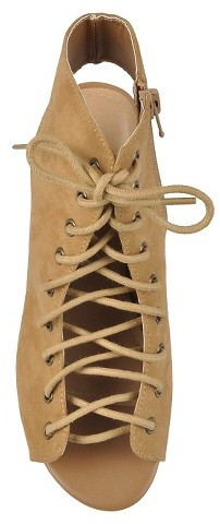 Journee Collection Hailey Jeans Co. Women's Lace-up Faux Suede Heels