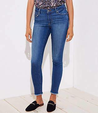 LOFT Petite Curvy Fresh Cut Skinny Jeans in Mid Stonewash