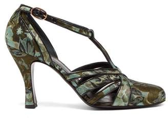 Erdem Estella Jacquard T Bar Pumps - Womens - Black Green