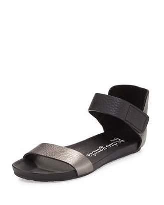 Pedro Garcia Juncal Metallic Leather Sandal, Charcoal $450 thestylecure.com