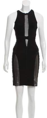 Herve Leger Mesh-Accented Bandage Dress Black Mesh-Accented Bandage Dress