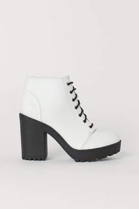 6bb76069b70 H M Platform Ankle Boots - White