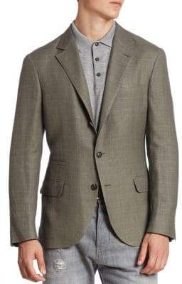 Brunello Cucinelli Slim-Fit Linen, Wool& Silk Jacket