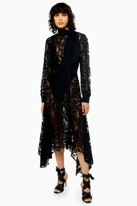 Topshop IDOL Black Lace Pussy Bow Midi Dress