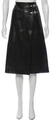 Celine Leather Midi Skirt