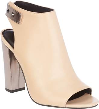 Halston H By H by Leather Peep-Toe Bootie with Block Heel - Natalie