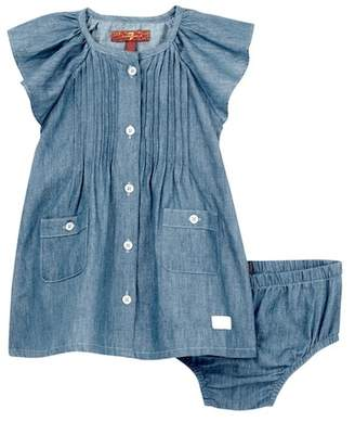 7 For All Mankind Chambray Dress & Diaper Cover Set (Baby Girls)