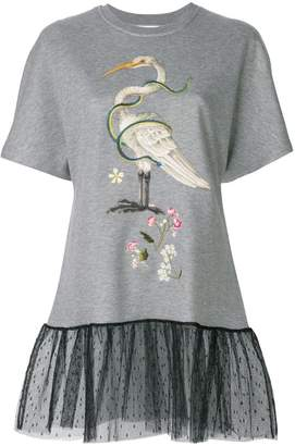 RED Valentino embroidered T-shirt with lace hem