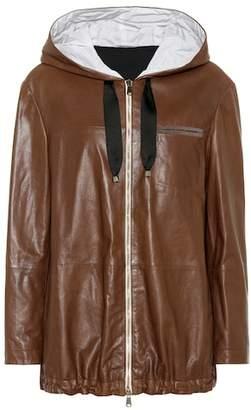 Brunello Cucinelli Hooded leather jacket