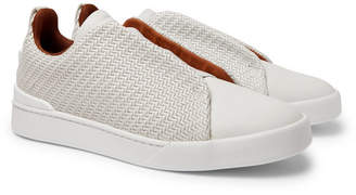 Ermenegildo Zegna Triple Stitch Pelle Tessuta Leather Slip-On Sneakers - Men - Off-white