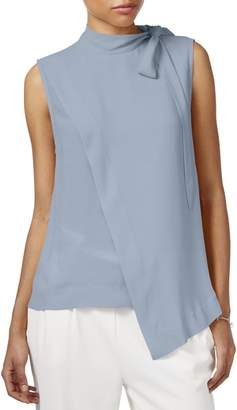 Rachel Roy Womens Mock Neck Sleeveless Pullover Top Blue XS