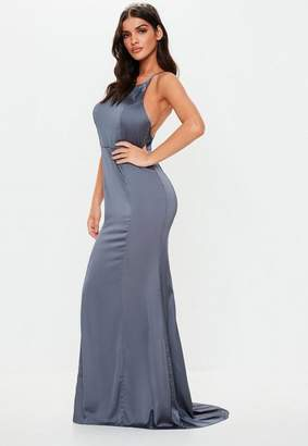Missguided Bridesmaid Grey Satin Round Neck Backless Maxi Dress, Grey