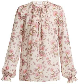 Giambattista Valli Tie-neck floral-print silk top