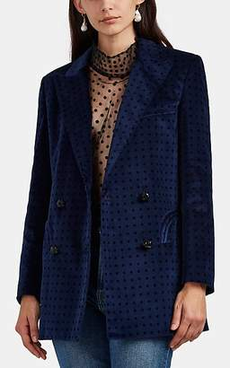 BLAZÉ MILANO Women's Everyday Polka Dot Velvet Double-Breasted Blazer - Blue