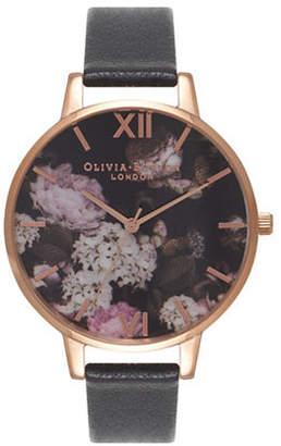 Olivia Burton Winter Garden Hydrangea Goldtone Leather Strap Watch