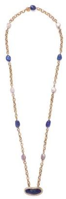 Jade Jagger Diamond, Tanzanite, Pearl & 18kt Gold Necklace - Womens - Blue
