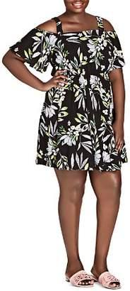 City Chic Plus Maui Frills Floral Cold-Shoulder Dress
