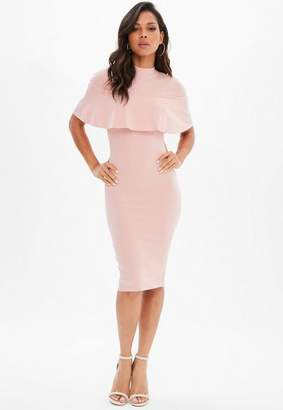 Missguided Pink Frill Overlay Midi Dress, Rose Pink