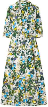 Erdem Kasia Floral-print Cotton-poplin Midi Dress - Blue