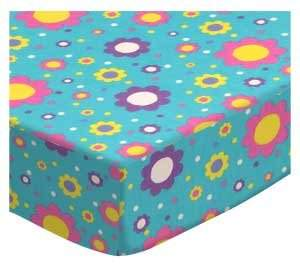 Joovy SheetWorld Fitted Square Playard Sheet (Fits Floral Aqua Jersey Knit - Made In USA - 37.5 inches x 37.5 inches (95.25 cm x 95.25 cm)