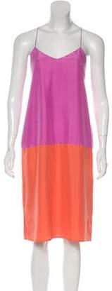 Tibi Silk Sleeveless Colorblock Midi Dress