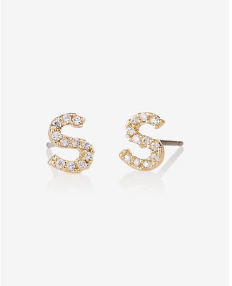 Express Pave S Initial Stud Earrings $14.90 thestylecure.com