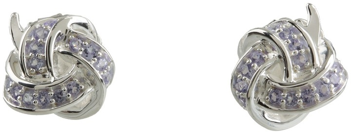 Elizabeth and James Ribbon Button Earrings with Tanzanite (Sterling Silver & Tanzanite) - Jewelry