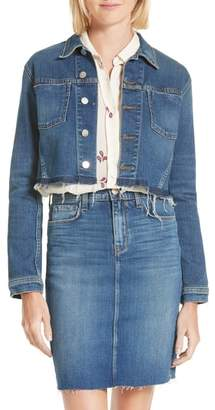 L'Agence Zuma Raw Hem Crop Denim Jacket