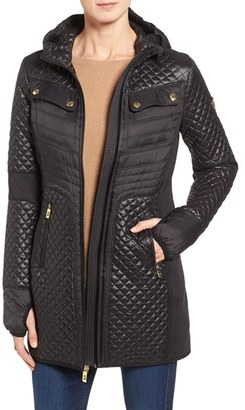 Women's Michael Michael Kors Mixed Media Hooded Zip Front Coat $168 thestylecure.com
