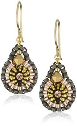 Miguel Ases Swarovski and Gold Beaded Earrings