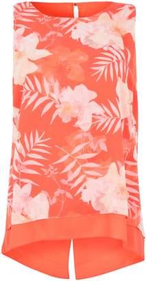 WallisWallis PETITE Orange Floral Print Asymmetric Blouse