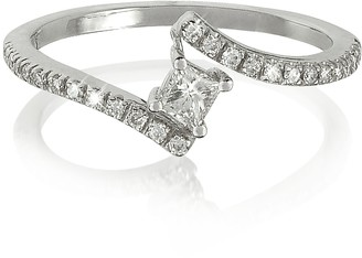 Forzieri Squared Diamond 18K White Gold Solitaire Ring