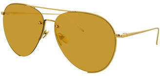 Linda Farrow Semi-Rimless Mirrored Aviator Sunglasses, Gold