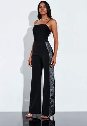 Missguided Black Side Sequin Detail Tapered Pants
