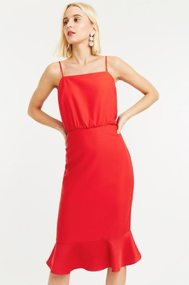 Oasis Mid Red Square Neck Satin Column Midi Dress