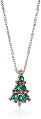 Swarovski Platinum Plated Christmas Tree Pendant Necklace set with Round Cut Red and Zirconia (.45 cttw)