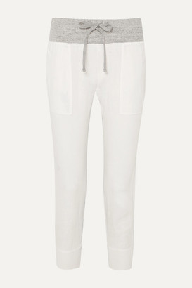 James Perse Mixed Media Linen And Melange Cotton-jersey Track Pants