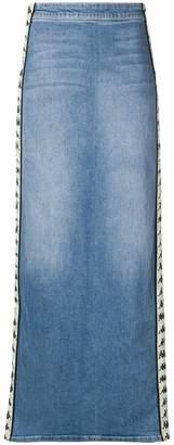 Kappa logo trim denim skirt