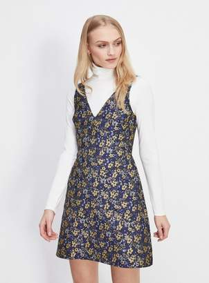Miss Selfridge Floral print jacquard mini skater dress